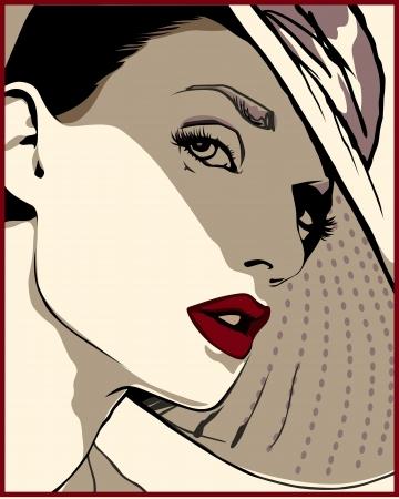赤い唇と帽子で美しい女の子が私たちを見てください。