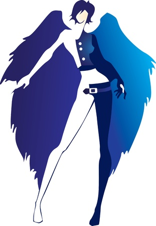 skinny girl with blue wings of an angel Vector