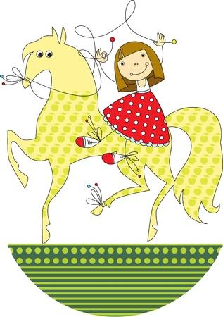 fröhliche kleine Mädchen auf dem Pferd reiten