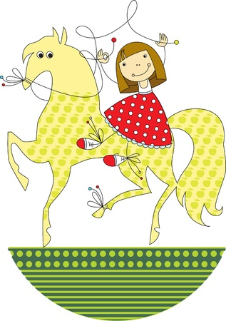 cheerful little girl is riding on horseback Stock Illustratie
