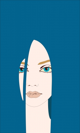 face of the girl with dark blue long hair Vector