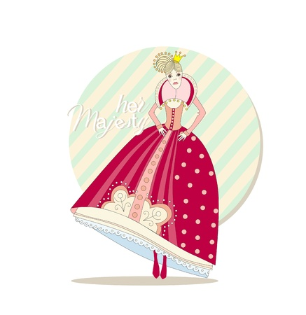 princess crown and ball gown is placing hands on the belt Vector