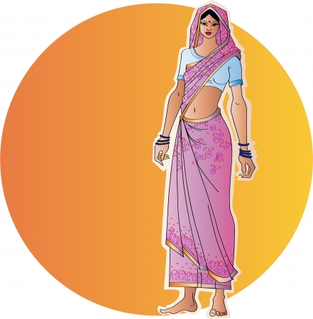 costume jewellery: Indian woman in a sari