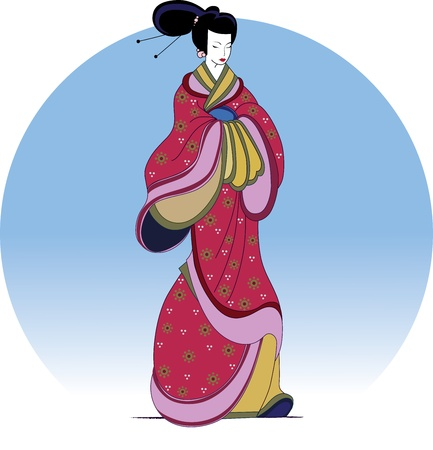 chinese dress: Japanese girl in national dress on a background of blue sky