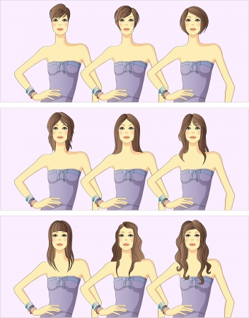 set of nine women's hairstyles