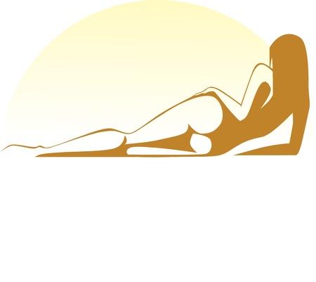 zonnebaden meisje ligt bij zonsondergang Stock Illustratie