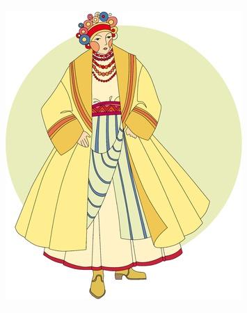 young girl in ethnic Slavic clothing