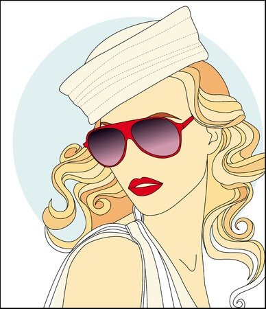 face pretty girl in sunglasses Vector