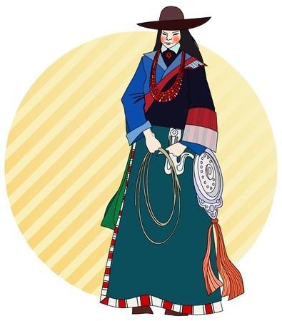 figure in Tibetan ethnic costumes Stock Vector - 21050455