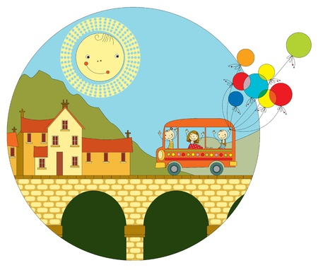 balloon drawing: children travel by bus to the small historic town