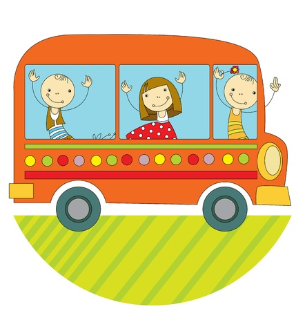 excursion: children travel by bus around the world