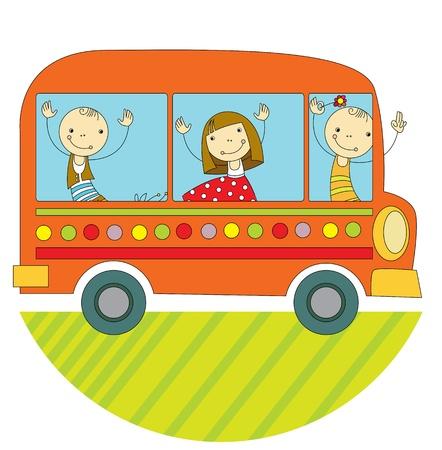 ausflug: Kinder fahren mit dem Bus auf der ganzen Welt