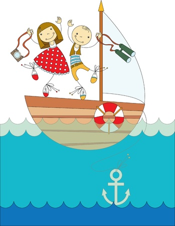 a boy and a girl traveling on a yacht on the sea Ilustrace