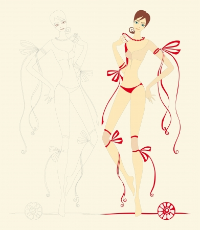 slim girl with red bows and ribbons photo