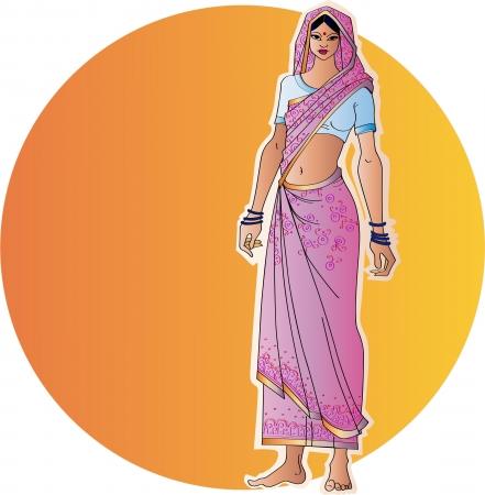 サリーのインドの女性