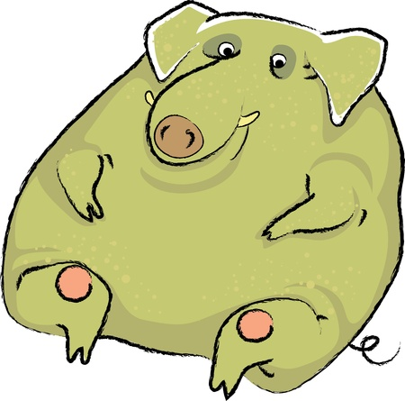 wild boar in thick green warts Vector