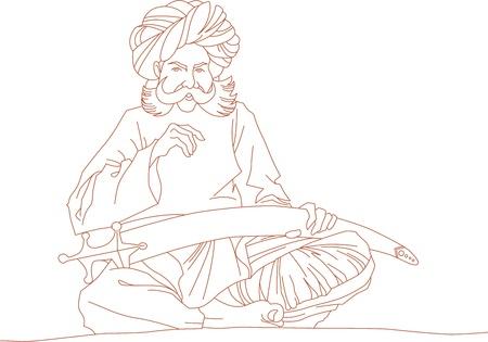 caftan: Arabic man with a sword