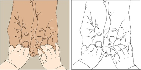 children s and adult hands photo