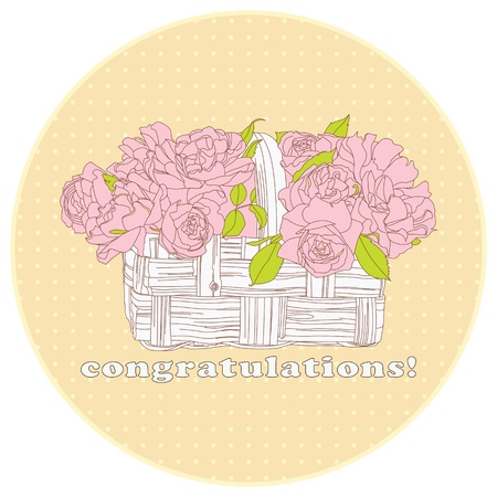 card with a bouquet of roses in a basket in warm colors photo