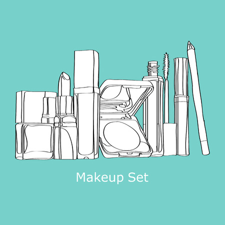 cosmetics Set painted by hand on a blue background Vector