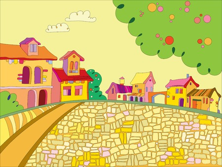 a vivid illustration of the town square and colorful houses