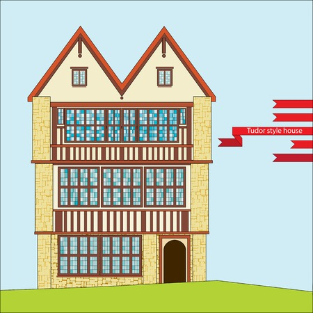 three-story Tudor style house with large windows Stock Illustratie