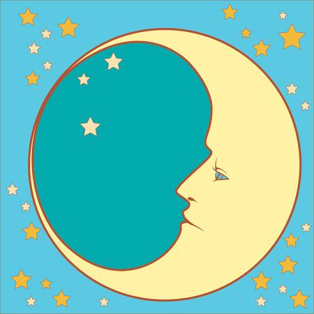 croissant de lune dans le profil avec des étoiles dans carré Vecteurs