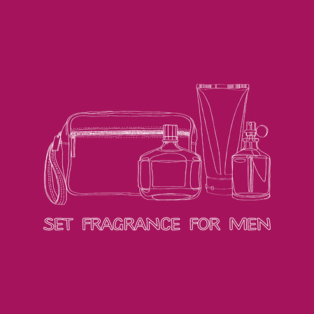 set of mens fragrances: beautician, cologne, lotion, eau de toilette Vector