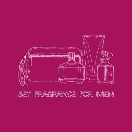 fragrances: set of mens fragrances: beautician, cologne, lotion, eau de toilette Illustration