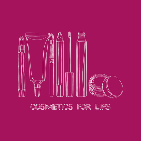lip gloss: Cosmetics for Lips: applicator brush, lip gloss, lip balm Illustration