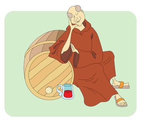 clergy: monk sleeps near the barrels of wine Illustration