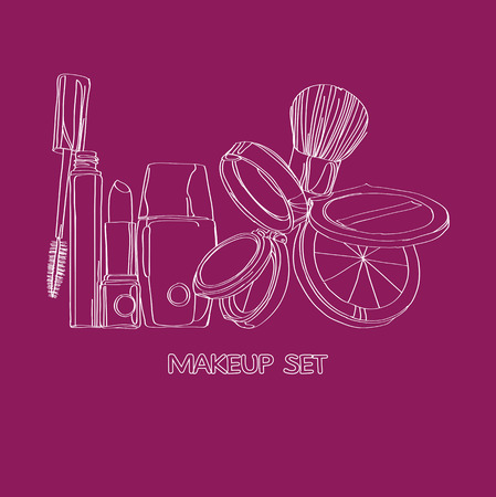 cosmetics Set  on a burgundy background Vector