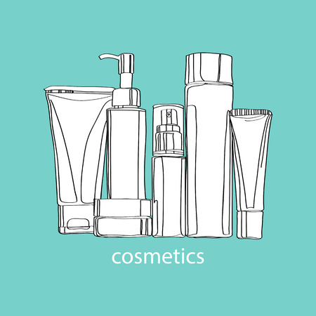 set of cosmetics in tubes and jars