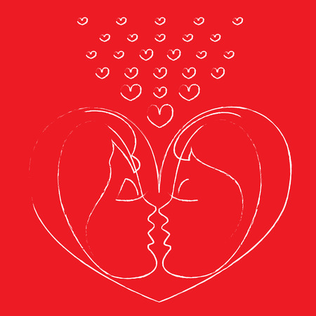 happy people: Valentine card with silhouettes of kissing couple