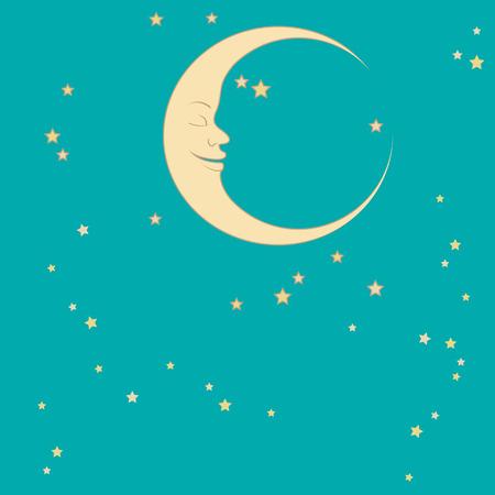 crescent: crescent moon and stars around him sleep