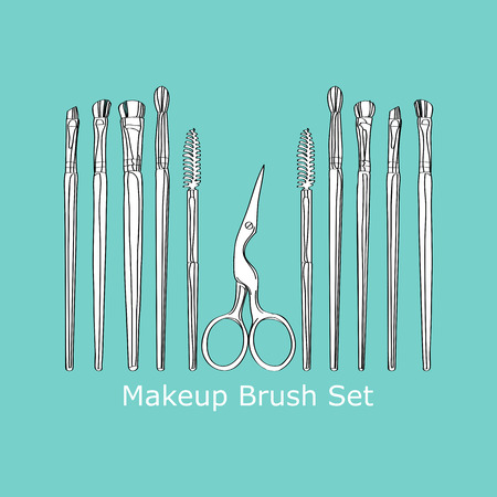 eyebrow trimming: cosmetic brush and scissors on a turquoise background