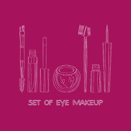 yeux maquill�: ensemble de maquillage pour les yeux sur un fond bordeaux