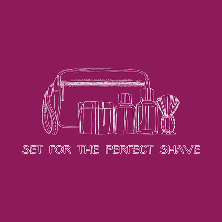 shaving kit: cream, lotion, cosmetic bag, shaving gel Vector