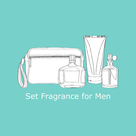 set of mens fragrances Vector