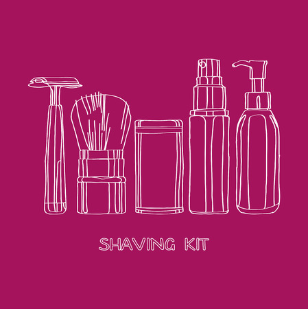 shaving kit of razors, brushes, foams and gels Vector