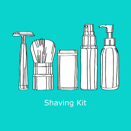 gels: shaving kit of razors, brushes, foams and gels