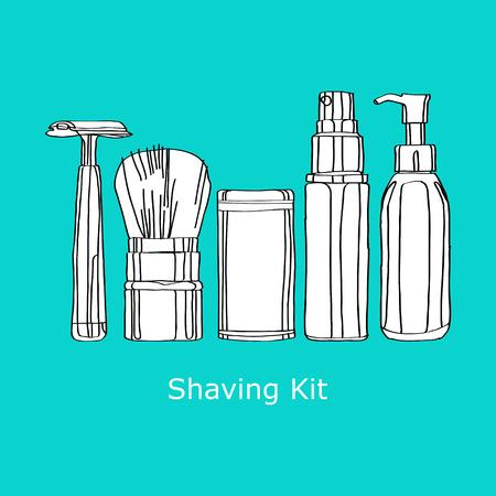 shaving kit of razors, brushes, foams and gels