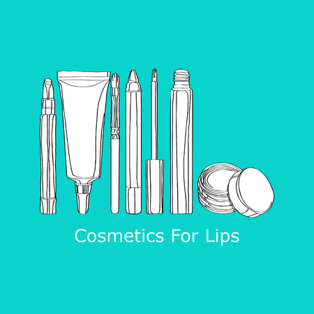 Cosmetics for Lips: applicator brush, lip gloss, lip balm Stock Illustratie