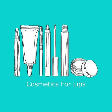Cosmetics for Lips: applicator brush, lip gloss, lip balm Illustration