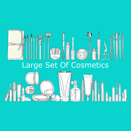 cosmetics products: large set of cosmetics