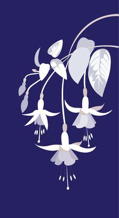 flores fucsia: rama de flores fucsias y hojas sobre un fondo azul