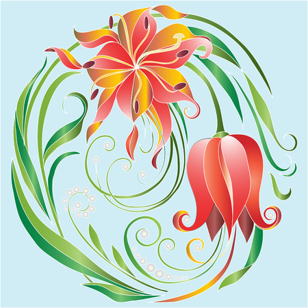 tulips with dew in the circle. Vector