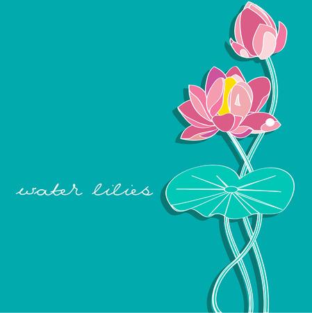 water lilies: tarjeta de invitaci�n con lirios de agua decorativos.