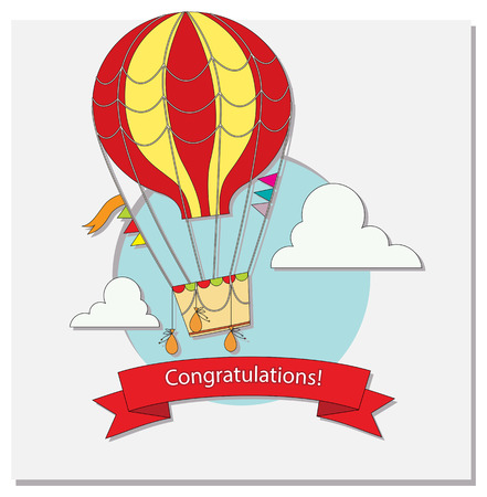 Greeting card with hot air balloon and clouds Vector