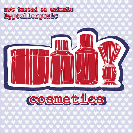 set of cosmetics. sticker Vector